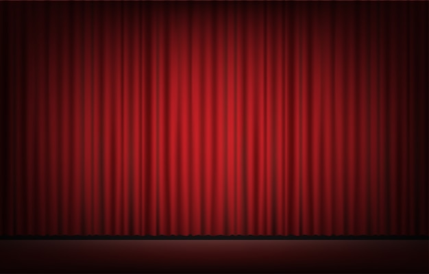Stage with red curtain backgrond