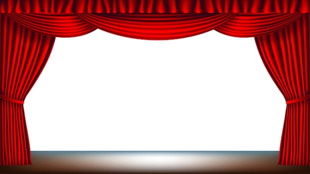 Stage with red curtain and empty white background