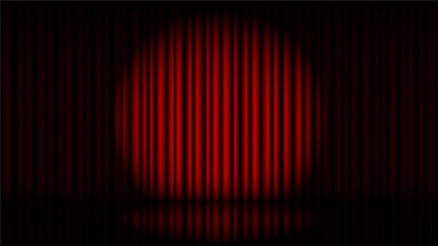 Stage with red curtain and spot light