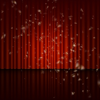 Stage with red curtain and streamer effect.