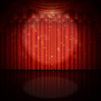 赤いカーテンのあるステージ。