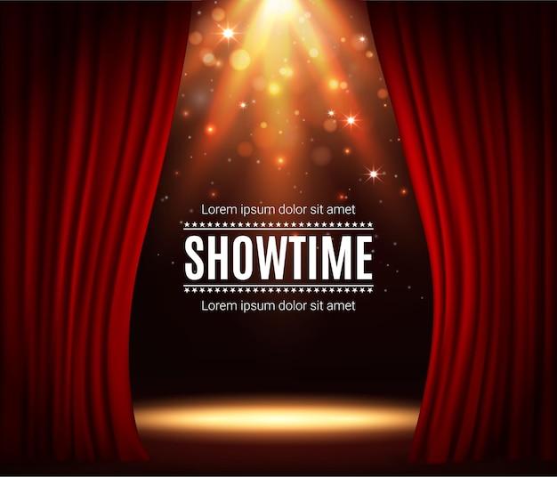 赤いカーテンのあるステージ、スポットライトのイルミネーションと輝きのある劇場シーンのベクトルの背景。リアルな3dの赤いカーテンと光の輝きを備えたパフォーマンス、音楽ショー、コンサートのショータイムポスター