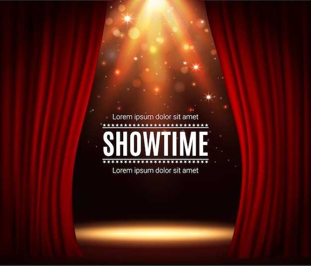Stage with red curtains, theater scene vector background with spotlight illumination and sparkles. showtime poster for performance, music show or concert with realistic 3d red curtains and light glow