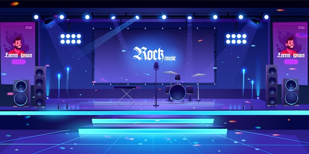 Stage with rock music instruments and equipment