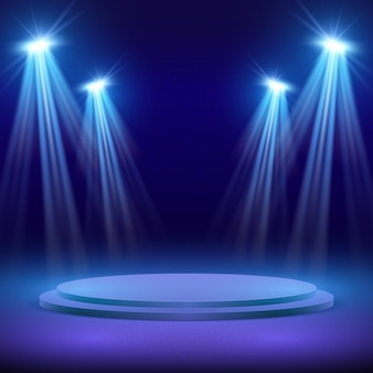 Stage with spotlight for show illuminated illustration