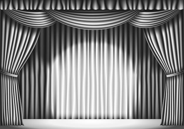 白いカーテンのあるステージ。黒と白のレトロなイラスト