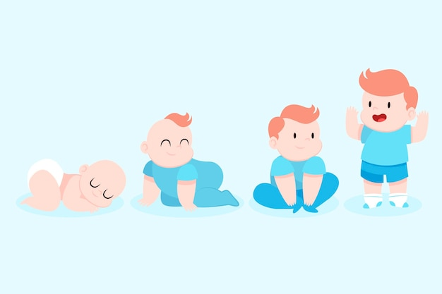 Stages of a baby boy flat design