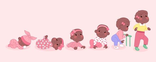 Fasi di un'illustrazione della neonata