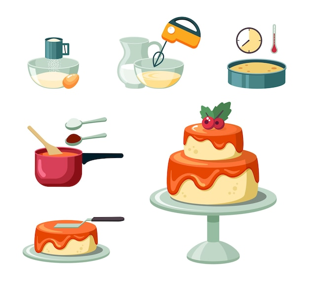 Stages and equipment making birthday cake set