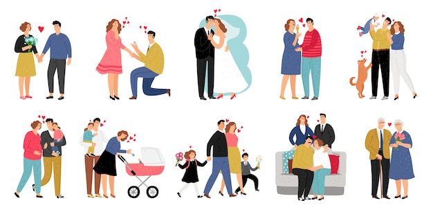 Stages of family illustration