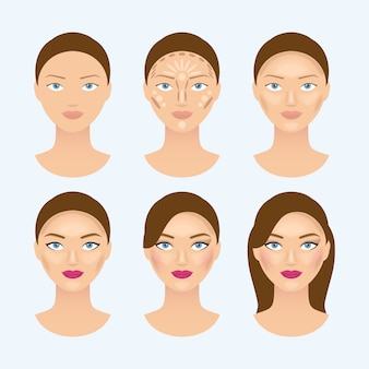 Stages of the makeup on the womans face