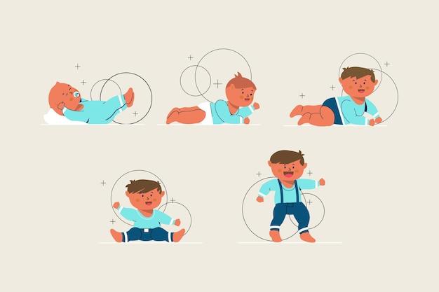 男の子のイラストの段階