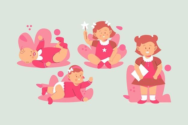 女の赤ちゃんイラストの段階