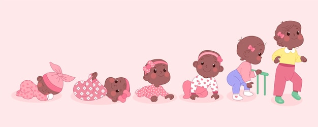 아기 소녀 그림의 단계