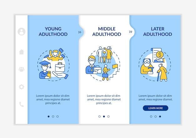 성인기 온보딩 벡터 템플릿의 단계입니다. 아이콘이 있는 반응형 모바일 웹사이트입니다. 웹 페이지 연습 3단계 화면. 선형 삽화가 있는 사회 실현 색상 개념