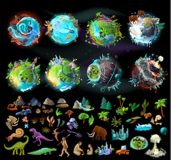 Stages of Earth evolution, cartoon creation set with various colorful icons, plants and animals