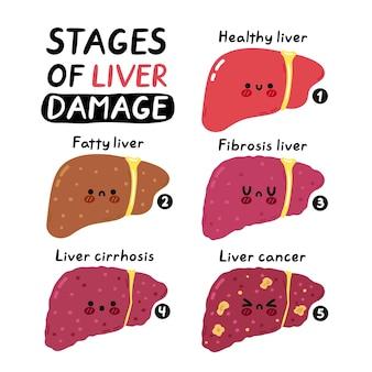 肝障害のインフォグラフィックの段階。ベクトル手描き漫画かわいいキャラクターイラストアイコン。白い背景で隔離。人間の病気の不健康な肝臓の臓器、漫画のキャラクターの概念