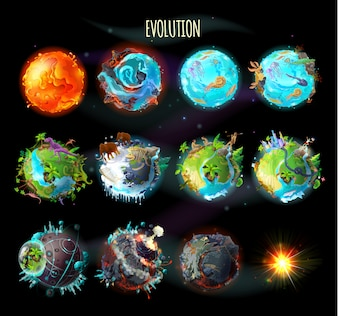 Stages of the origin of life on Earth, evolution, climate changes