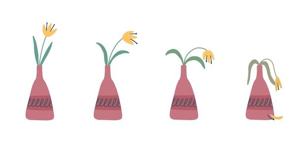 Этапы увядания, увядший цветок в вазе, заброшенное растение без полива и ухода. срезанный цветок отмирает. векторные иллюстрации, handdrawn органический плоский стиль.