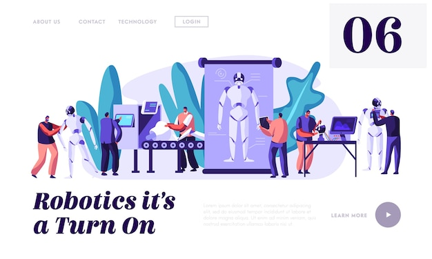 Stages of robots creation. engineering robotics process in science laboratory with hi-tech equipment landing page template