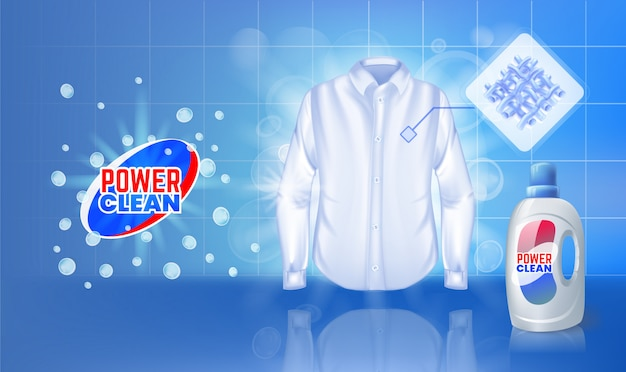 Stain remover ad, with water washing a stained shirt.