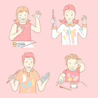 Stained with paint children cartoon outline illustration. boys and girls holding paintbrushes and paints.