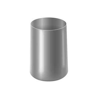 흰색 배경에 고립 된 손잡이가없는 스테인레스 스틸 마시는 컵 현실적인 eps 파일