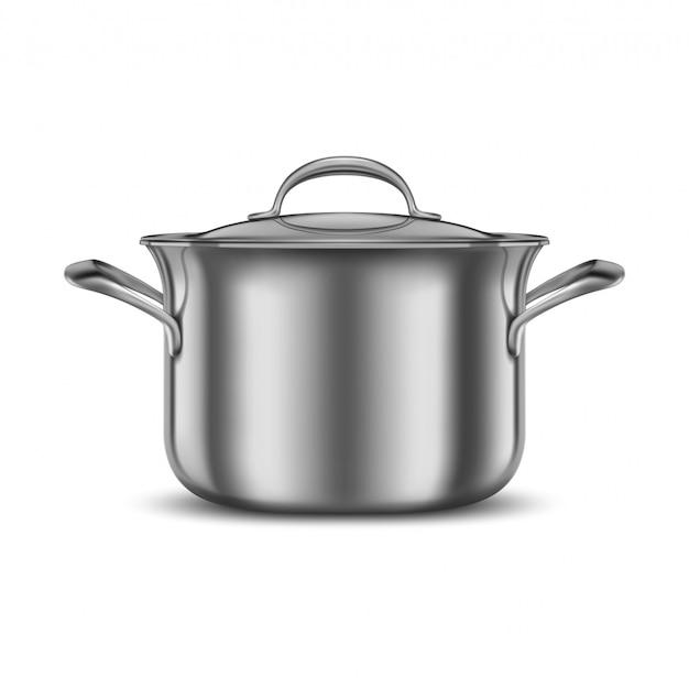 Сковорода из нержавеющей стали. металлический котелок. кухонная утварь.