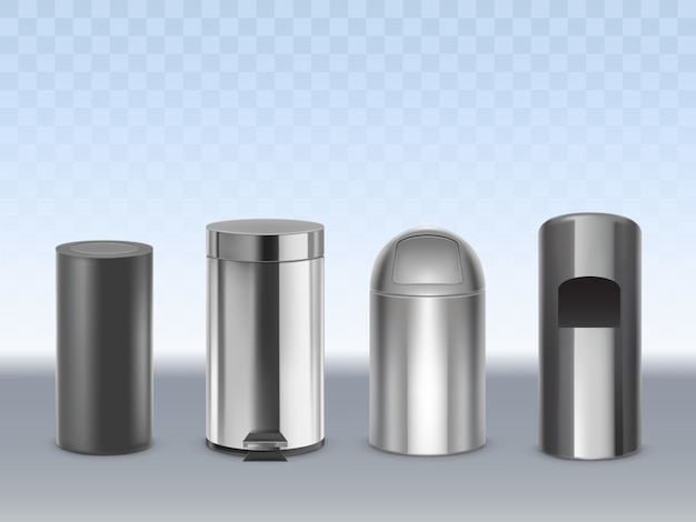 Stainless steel trash cans 3d realistic vector set isolated on transparent. cylindrical matte black, glossy, chrome plated metal containers for waste with moving lid and pedal illustration