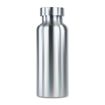 Stainless steel water bottle . reusable thermo flask,  illustration. outdoor sport product blank for your brand promotion. aluminum canister sample with cap. empty fitness can