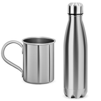 ステンレス鋼の水筒。魔法瓶。