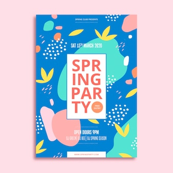 Stains of colour and leaves spring party flyer design
