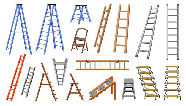 Лестница мультфильм установить значок. иллюстрация лестница на белом фоне. лестница значок изолированных мультфильм набор.
