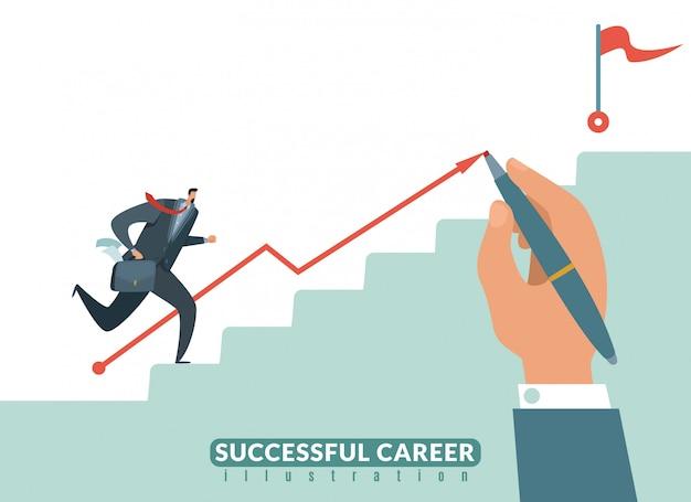 ゴールへの階段。成功のビジネスキャリアへのパス、ターゲットへのビジネスマンの階段と成長の従業員イラスト