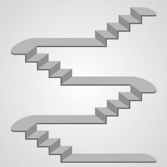 Staircase 3d art sign object. vector illustration