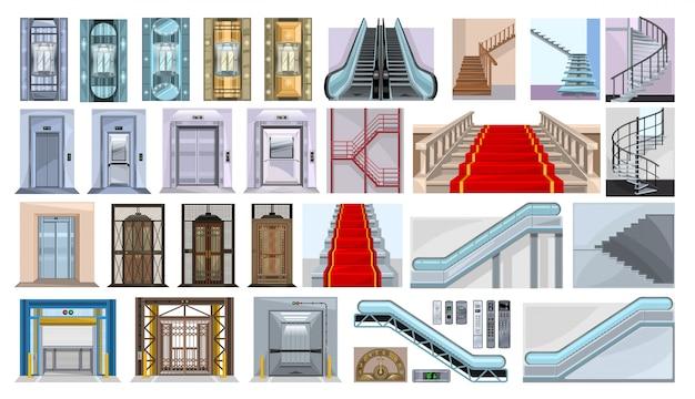 흰색 배경에 에스컬레이터 그림의 계단입니다. 격리 된 만화 아이콘 계단을 설정합니다. 만화는 아이콘 계단을 설정합니다.