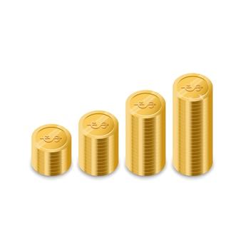 コインの頂上までの階段。お金のグラフ。