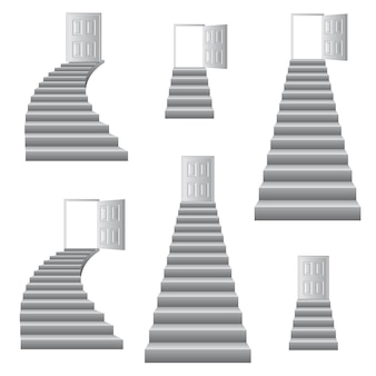 Stairs to door illustration.