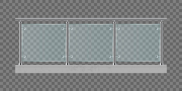 Stairs with glass railing  illustration isolated on transparent background