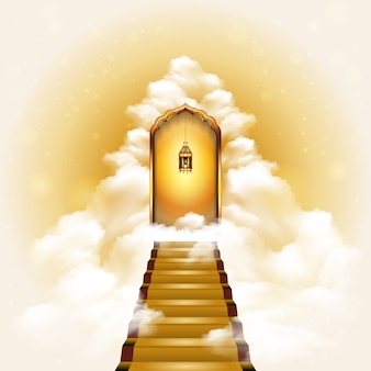 Stairway to heaven door illustration