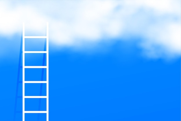 Stairway ladder into the clouds concept background