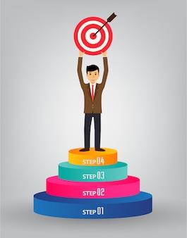 Stairway to success, businessman