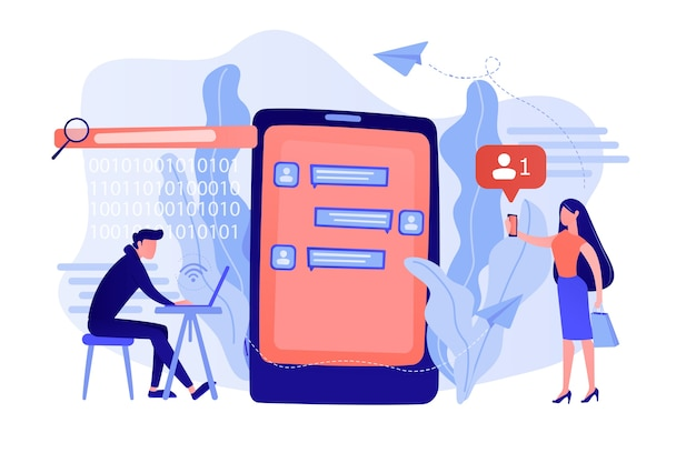 ラップトップを持ったストーカーは、メッセージで被害者を制御し、威嚇します。サイバーストーキング、社会的アイデンティティの追求、オンラインの虚偽の告発の概念。ピンクがかった珊瑚bluevector分離イラスト