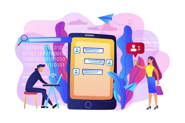 ラップトップを持ったストーカーは、メッセージで被害者を制御し、威嚇します。サイバーストーキング、社会的アイデンティティの追求、オンラインの虚偽の告発の概念。
