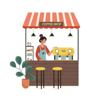 ストールカウンター。コーヒーとケーキ屋のコンセプト。カウンターでエプロンを着ている女性