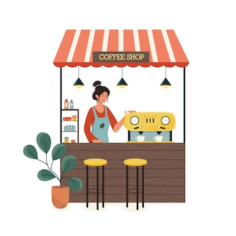 Stall counters. coffee and cake shop concept. woman wearing apron at the counter