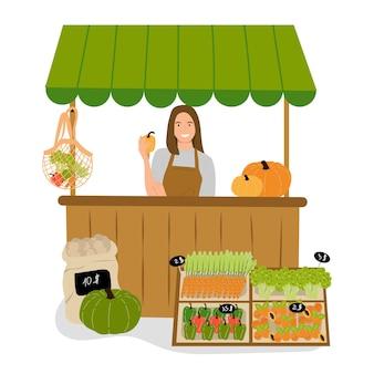 屋台のカウンター、ストリートマーケットの食料品ストリートマーケットの有機食品。夏の背景。ベクトルデザイン。