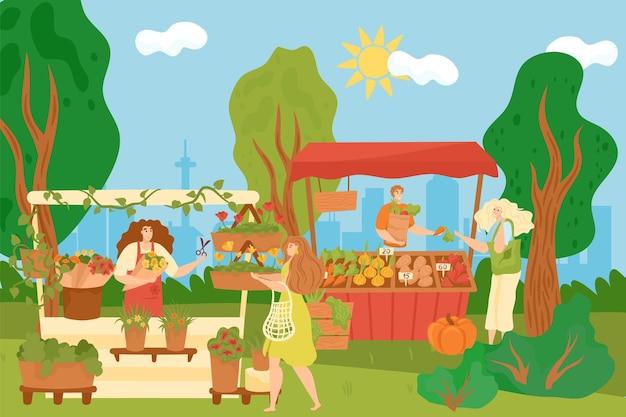 Прилавок магазин с едой, цветами, векторные иллюстрации. мужчина женщина продавец персонаж стоит на рынке в деревянном киоске, продажа органических овощей, растений на улице. розничный бизнес на ярмарке, покупатель с эко-сумкой.