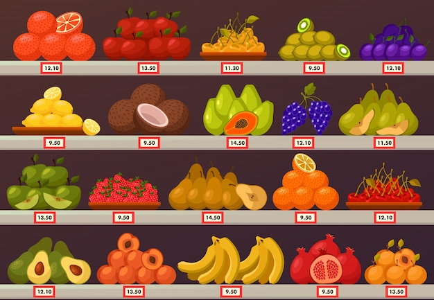 Stall or stand with fruits and prices