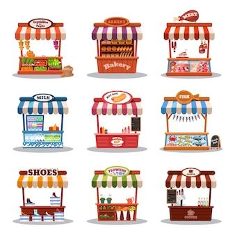 ストールストリートマーケットの図。ファーストフード、スタンド、マーケットプレイスのセットを備えたフードマーケットキオスク